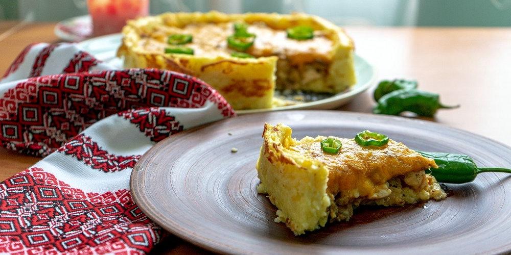 Картопляний пиріг з грибами у духовці